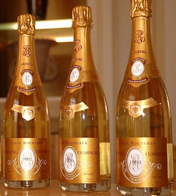 Tre bottiglie champagne Cristal