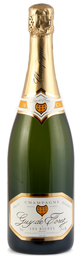 Bottoglia di champagne guydeforez reserve 2007