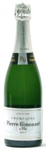 Bottiglia di champagne l Brut Cuis 1er Cru di Pierre Gimonnet.