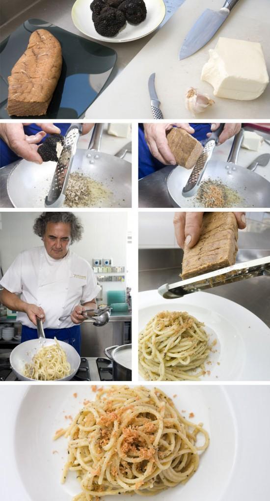 Ricetta dello chef Damiani, Spaghetti con tartufo nero estivo dei Sibillini e bottarga