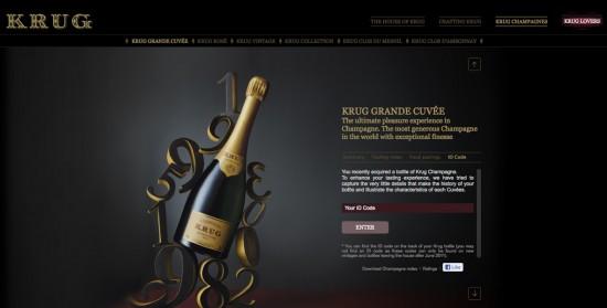 finestra del sito champagne krug