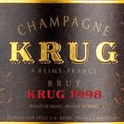 etichetta di champagne krug vintage 1998