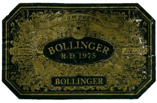 bollinger vecchia etichetta di R.D. 1975