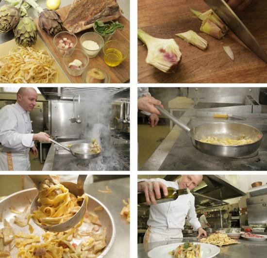 fasi della ricetta pappardelle con carciofi
