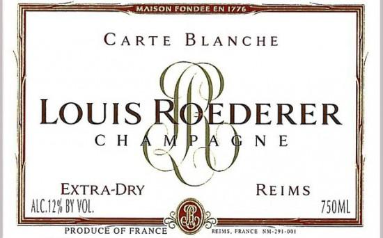 Etichetta Carte Blanche di Roederer