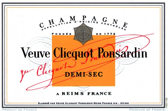 etichetta champagne veuve clicquot Ponsardin