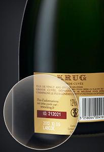 champagne Krug, l'ID sulla bottiglia