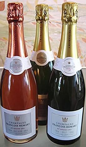 tre champagne della linea Françoise Hemart