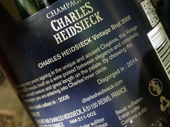 controetichetta charles-heidsieck 2005