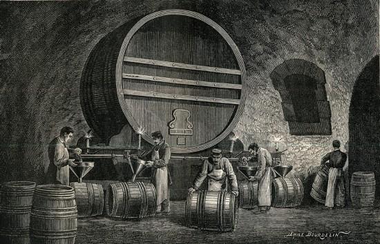 foto storica della conservazione in botte dello champagne