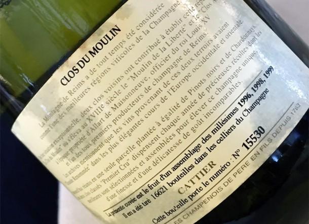 Controetichetta Champagne Cattier Clos du Moulin