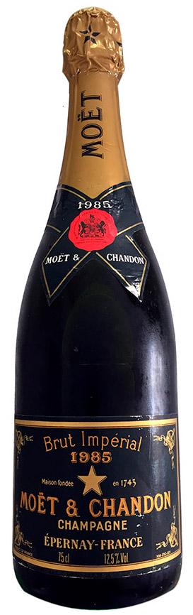 Bottiglia di champagne Moet & Chandon Brut Impérial Vintage 1985