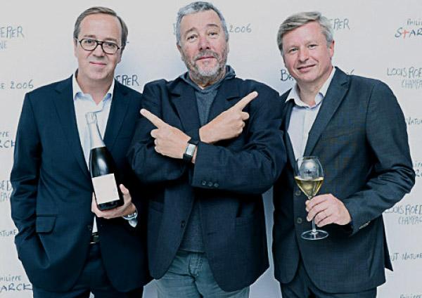 Fréderic Rouzaud, Presidente Louis Roederer, il designer Philippe Starck e Jean-Baptiste Lécaillon, chef de cave e Directeur Général Adjoint della maison.