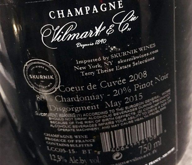 Retroetichetta champagne Vilmart 2008