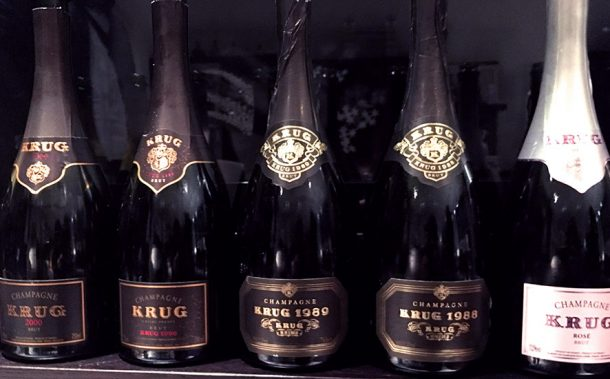 Bottiglie della degustazione Krug