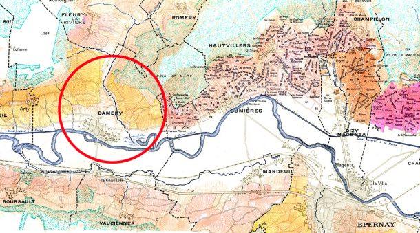mappa villaggio di Damery