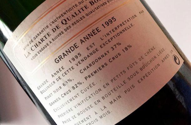 Controetichetta Bollinger Grande Année 1995