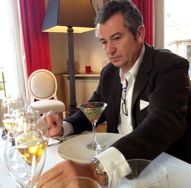 Giacomo Neri ad una degustazione in champagne