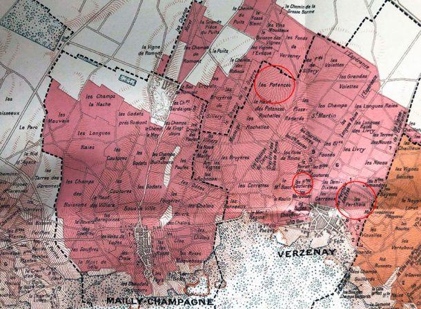 Mappa dei vigneti del villaggio Grand Cru di Verzenay