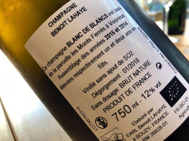 Controetichetta dello champagne Blanc de Blancs
