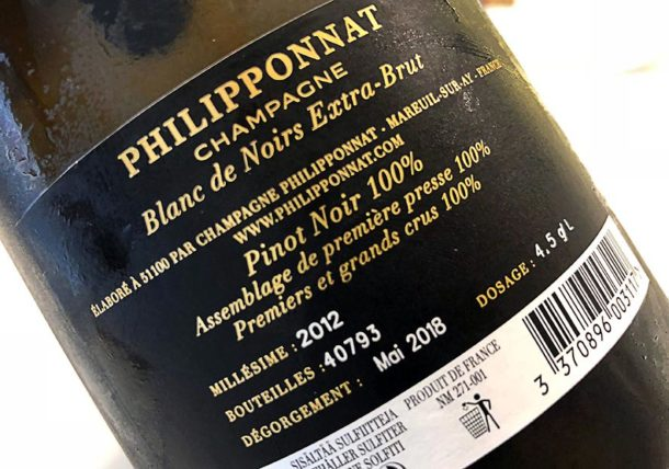 Controetichetta bottiglia Blanc de Noirs Extra-Brut Philipponnat