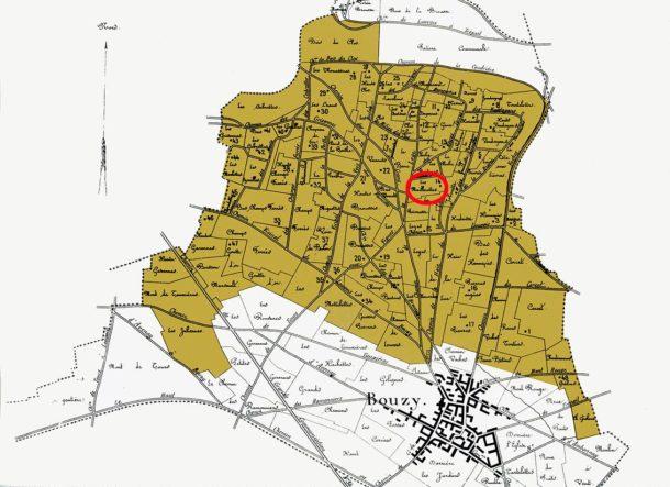 La mappa delle parcelle del villaggio Grand Cru di Bouzy