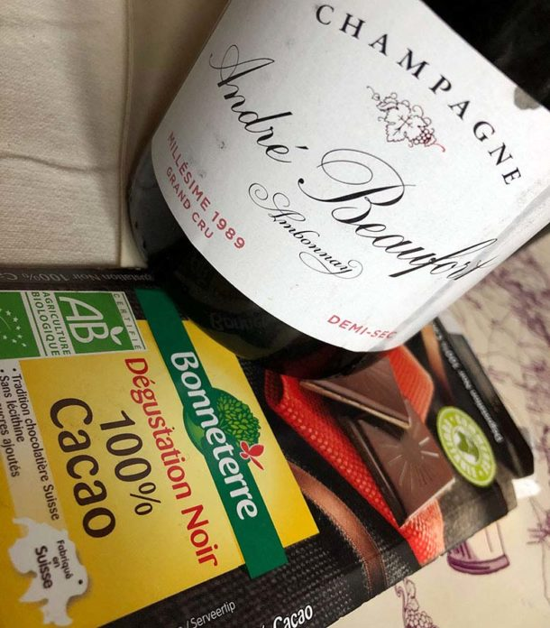 Cioccolato fondente e champagne