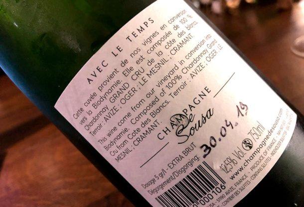 Controetichetta champagne De Sousa Avec le Temps