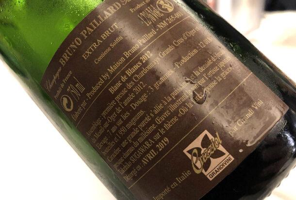 Controetichetta Champagne Bruno Paillard Blanc de Blancs 2012
