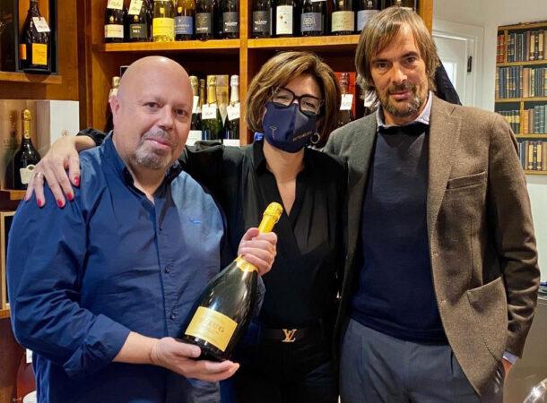 Andrea Agnoletto di Moët-Hennessy Italia con Alberto Lupetti e Stella Pileggi