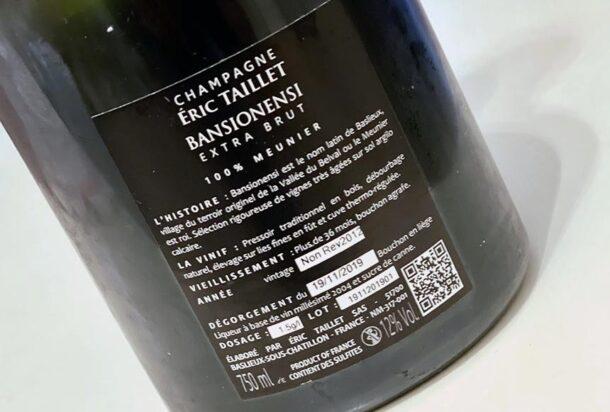 Controetichetta bottiglia Éric Taillet Bansionensi